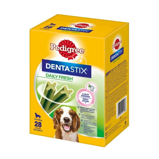 Dentastix Fresh Snack Perros Razas Medianas Pack Mensual 28 Barritas de Pedigree