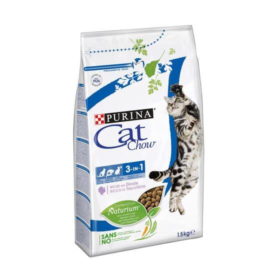 Cat Chow Gato 3 En 1 Rico En Pavo 1,5 Kg de Purina