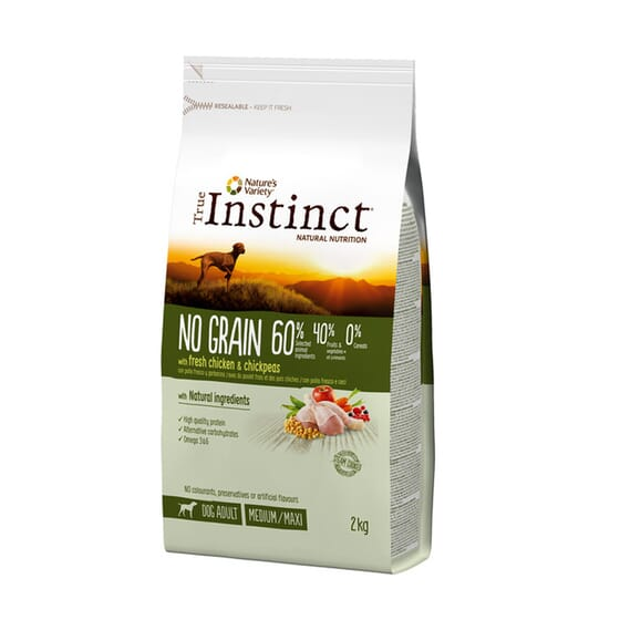 No Grain Frango Com Arroz Medium-Maxi Adulto 12 Kg da True Instinct
