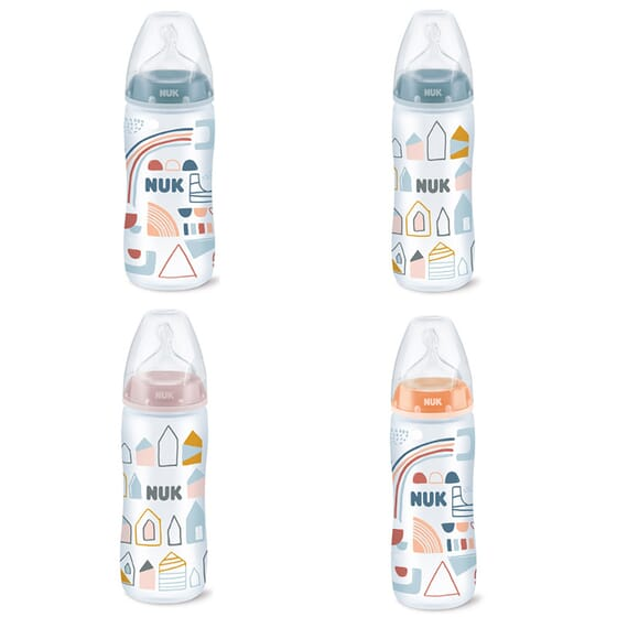 BIBERÃO SILICONE FIRST CHOICE + ANTI-CÓLICAS 6-18 M 360ml da Nuk