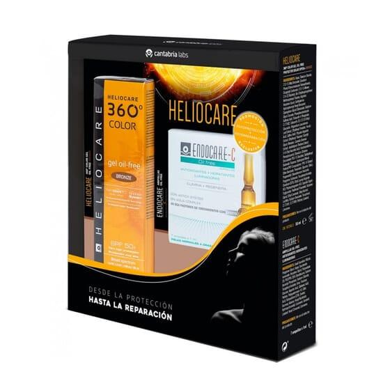 HELIOCARE PACK 360 COLOR GEL OIL FREE BRONCE SPF50+ 50ml + ENDOCARE-C AMPOLLAS 7 Uds