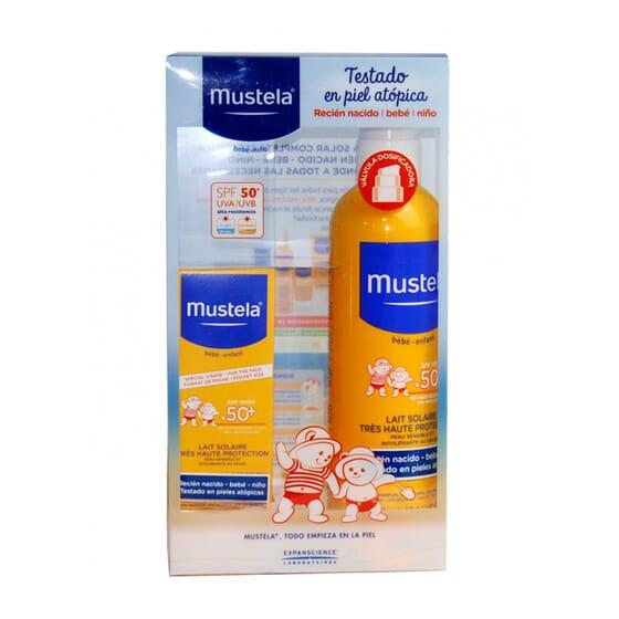 PACK PROTECCIÓN BEBÉS Y NIÑOS LECHE SOLAR SPRAY 300 ml + LECHE SOLAR FACIAL 40 ml de Mustela