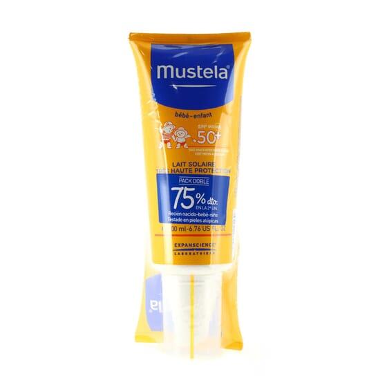 PACK DUPLO PROTECCIÓN BEBÉS Y NIÑOS LECHE SOLAR SPF50+ 2ª UD 75% DTO 2UD x 200 ml de Mustela