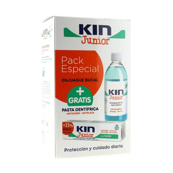 KIN JUNIOR ENJUAGUE BUCAL 500ml + PASTA DENTIFRICA GRATIS 100ml