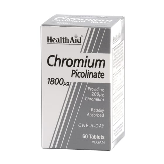 PICOLINATO DE CROMO 1800 mcg 60 Tabs de Health Aid.