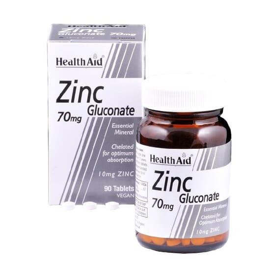 Gluconato De Zinco 70mg 90 Tabs da Health Aid
