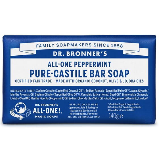 SAVON SOLIDE MENTHE POIVRÉE 140 g Dr. Bronner's