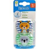 Dr Browns Succhietto Prevent Silicone 12M+ Tigre E Koala 2 Unità di Dr Browns