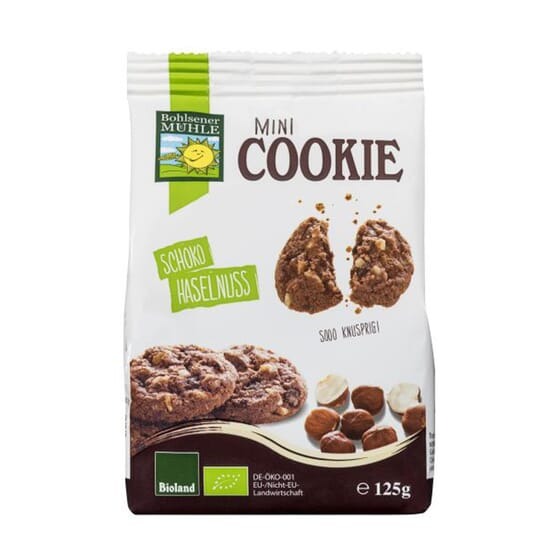 MINI COOKIE CHOCOLATE Y AVELLANAS BIO 125g de Bohlsener Mühle.