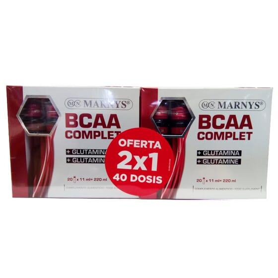 BCAA COMPLET + GLUTAMINA 2X1 40 frascos de 11ml da Marnys.
