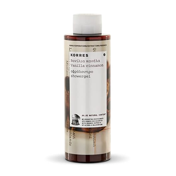 Le Gel Douche Vanille Cannelle de Korres nettoie et hydrate la peau.