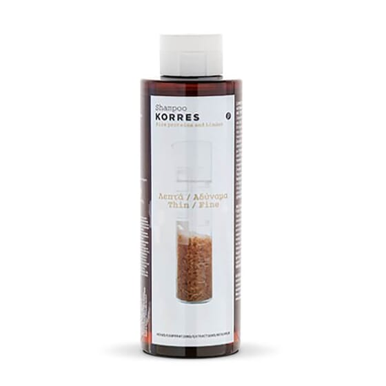 Shampooing Volumateur Protéines de Riz & Tilleul de Korres parfait pour des cheveux fins.