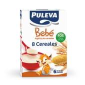 Puleva Bebé 8 Cereales FOS es una papilla que incluye 8 cereales y vitaminas y minerales