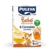 Puleva Bebé 8 Cereales con Miel FOS es una papilla infantil con vitaminas y minerales