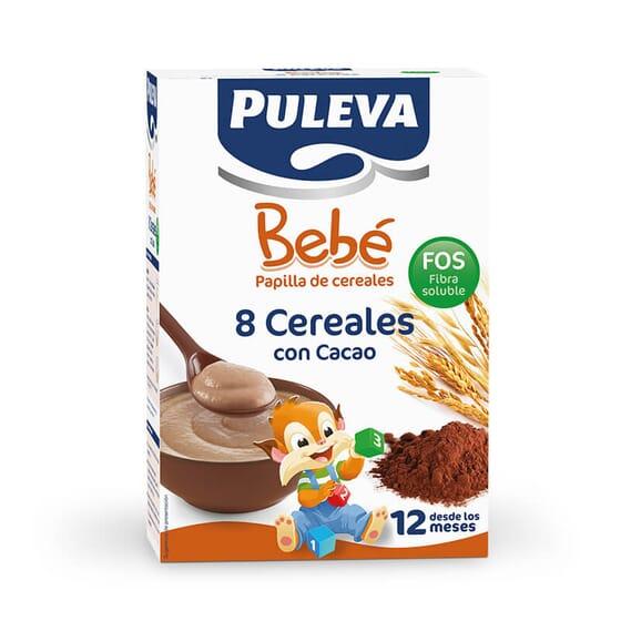 Puleva Bebé 8 Cereales con cacao FOS es una papilla rica en hierro, calcio y vitamina D
