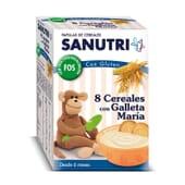Sanutri 8 Cereales Galleta María FOS es una papilla de cereales ideal para los más pequeños.