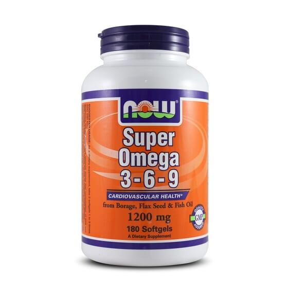 Super Omega 3-6-9 1200mg 180 Softgels Now Foods