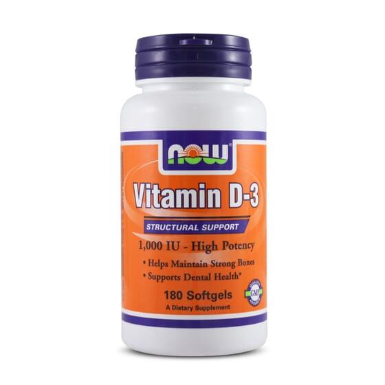 Vitamin D-3 1000IU 180 Softgels de Now Foods