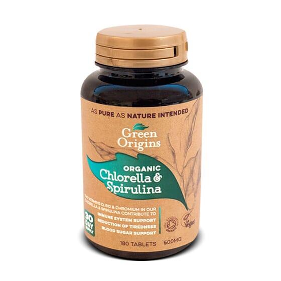 Clorela y Espirulina Orgánico 180 Caps de Green Origins