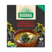 Sopa de Misso Vermelho Com Algas Wakame 4 x 10g da Biogra