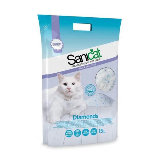 Areia para Gatos de Silica Diamonds 15 L da Sanicat
