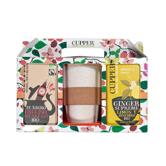 Pack Cupper Té Negro Bio + Limón Y Jengibre Bio + Vaso de Cupper