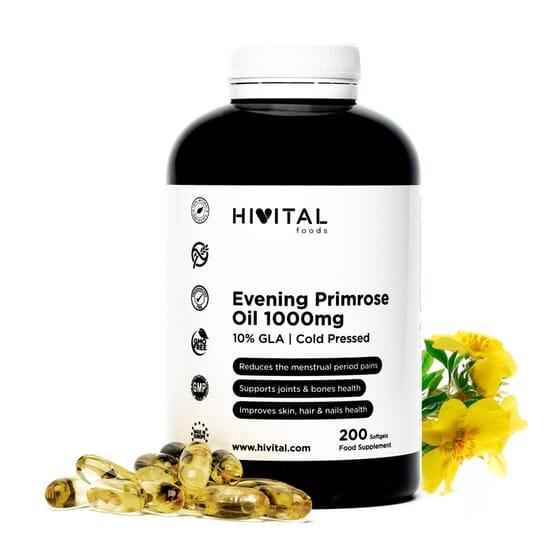 Evening Primrose Oil 1000 mg 200 Perlas de HIVITAL FOODS