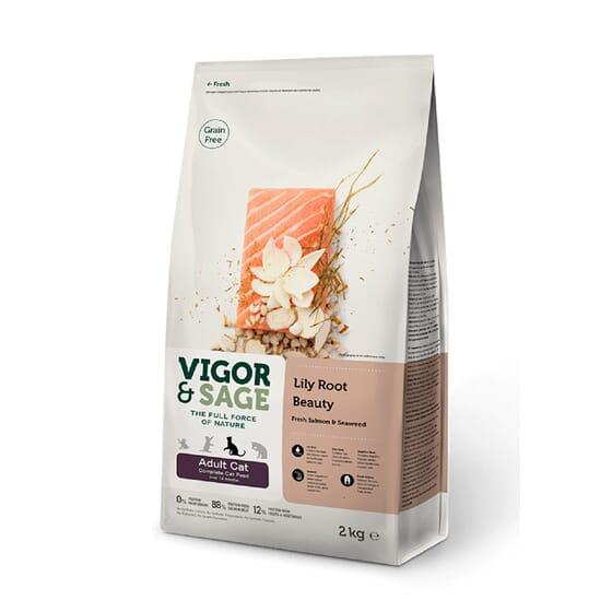 Ração Gato Adulto Lily Root Beauty Salmão 2 Kg da Vigor & Sage