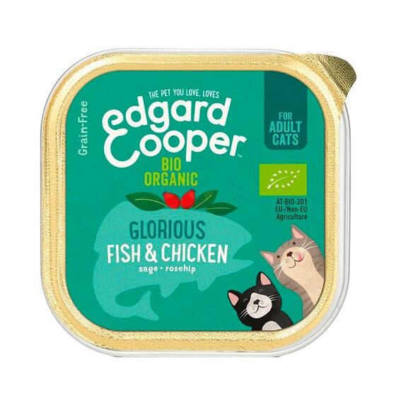 Comida Húmida Gato Peixe Branco e Frango Bio 85g da Edgard Cooper