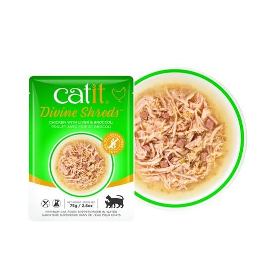 Divine Shreds Sopa Para Gatos Frango Com Fígado E Brócolos 75g da Catit