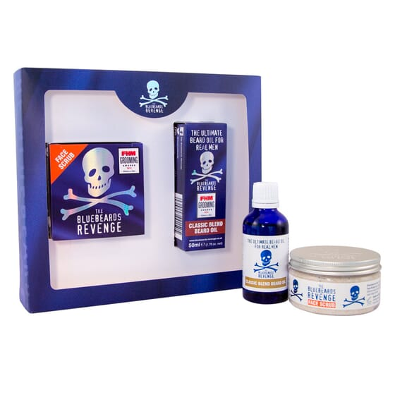 Designer Stubble Kit Lote Esfoliante + Óleo Para Barba da The Bluebeards Revenge