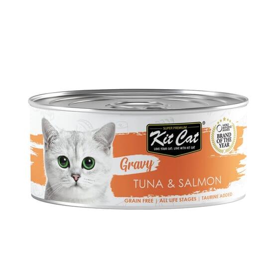 Comida Húmeda Gravy Atún Con Salmón En Salsa 70g de Kit Cat
