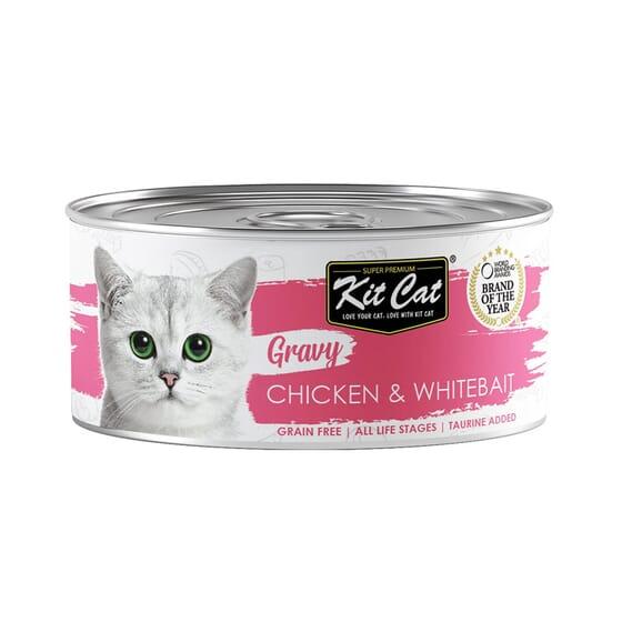 Comida Húmeda Gravy Pollo Con Chanquetes En Salsa 70g 24 Uds de Kit Cat