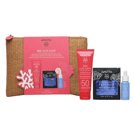 Pack Bee Sun Safe Face Cream SPF50 + Aqua Beelicious + Face Mask de Apivita
