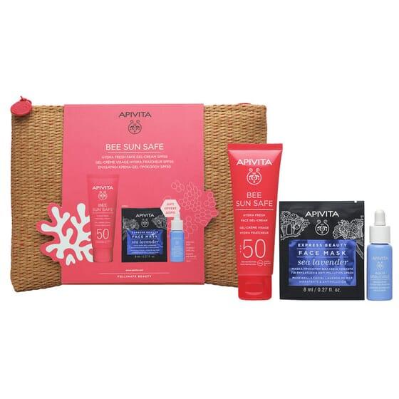 Pack Bee Sun Safe Gel + Aqua Beelicious + Face Mask Sea Lavender de Apivita