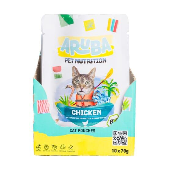 Aruba Cat Pollo Orgánico Con Calabaza Calabacín Y Cardo Mariano 70g 10 Uds de Aruba Pet Nutrition