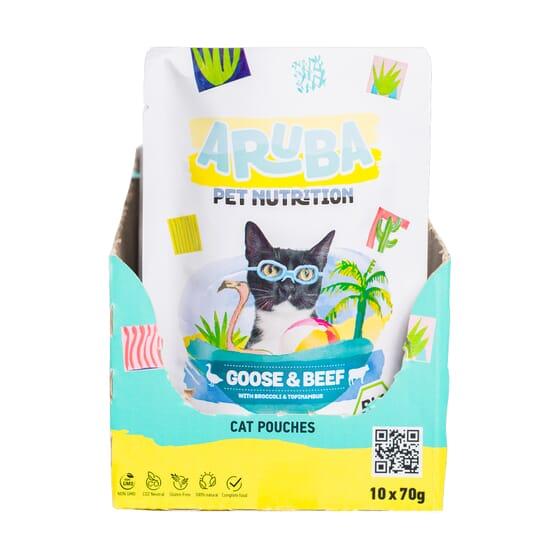 Aruba Cat Ganso Y Ternera Orgánicos Con Brócoli Y Topinambur 70g 10 Uds de Aruba Pet Nutrition