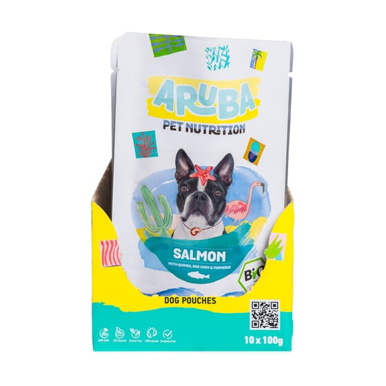 Aruba Dog Salmón Orgánico Con Quinoa Bok Choy Y Cúrcuma 100g 10 Uds de Aruba Pet Nutrition